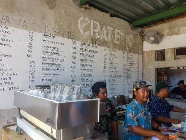 Die Karte des Crate Cafe in Canggu.