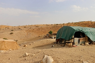 The home of a Bedouin family that periodically functions as a health clinic. Credit: WHO/Alice Plate