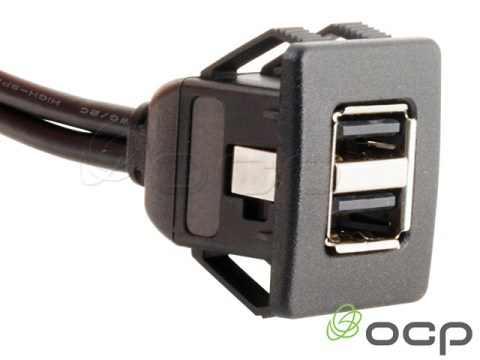 62-00202 - Dual USB A Female to A Male Panel Mount Cable