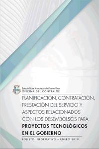 Portada del Folleto, Planificación, contratación, prestación de servicios y aspectos relacionados con los desembolsos para proyectos tecnológicos en el gobierno.