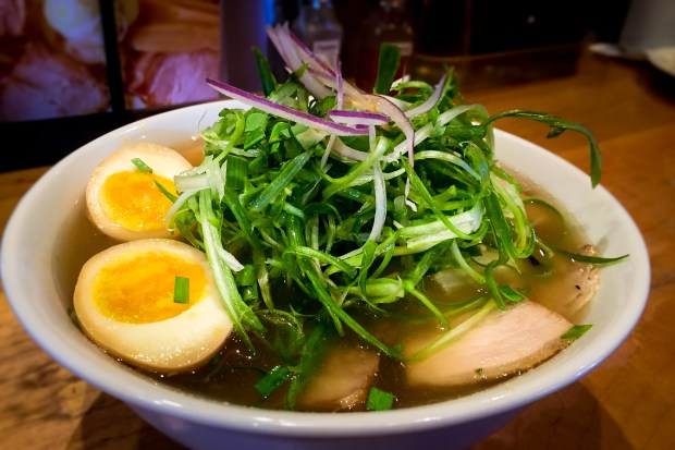 Green chili shio ramen at Kitakata Ramen Ban Nai in Costa Mesa. (Photo by Brad A. Johnson, Orange County Register/SCNG)