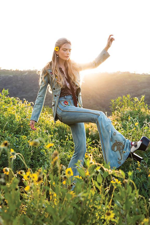 Gucci embroidered denim jacketand matching studded pants over flower-printed silk crêpe de chine long-sleeve shirt. Gucci, South Coast Plaza, 714.557.9600 :: gucci.com