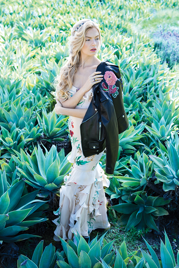 Johanna OrtizLa Santa Maria ruffled silk gown, Saint Laurent embroidered leather jacket and Dana Rebecca rings from Elyse Walker, Newport Beach, 949.612.2646 :: elysewalker.com Natasha couture headband from Nordstrom, South Coast Plaza, 714.549.8300 :: nordstrom.com