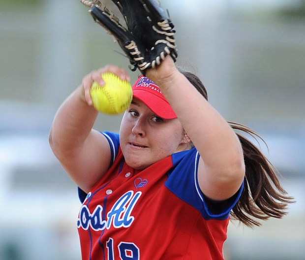 Ryan Denhart pitched for Los Alamitos The Huntington Beach softball team was playing Los Alamitos in Huntington Beach, CA on Tuesday, April 25, 2017. (Photo by Bill Alkofer,Orange County Register/SCNG)