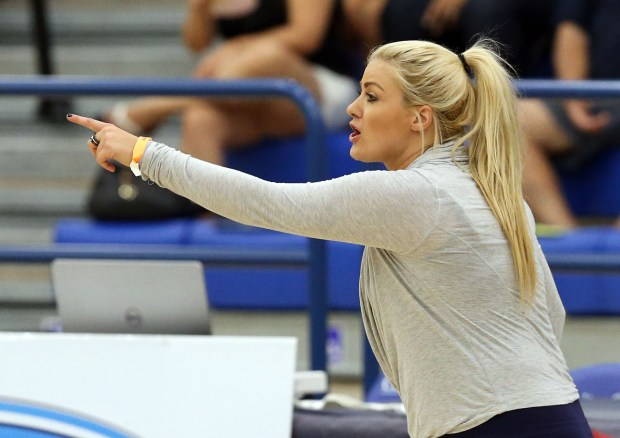 Cypress Head Coach Alex Griffiths directs her players during Saturday's CIF-SS Division 3 Boys Volleyball Final between Cypress and Bishop Montgomery at Cerritos College in Norwalk, CA Saturday, May 20, 2017. (Photo by Mark Dustin for the Daily Breeze/SCNG)