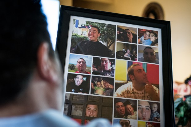 Rich DeRita, of Margate, Fla., holds a photo collage of his son Dillon, a 21-year-old who passed away on June 26, 2016. (Photo by Michael Ares, Contributing Photographer, Orannge County Register/SCNG)