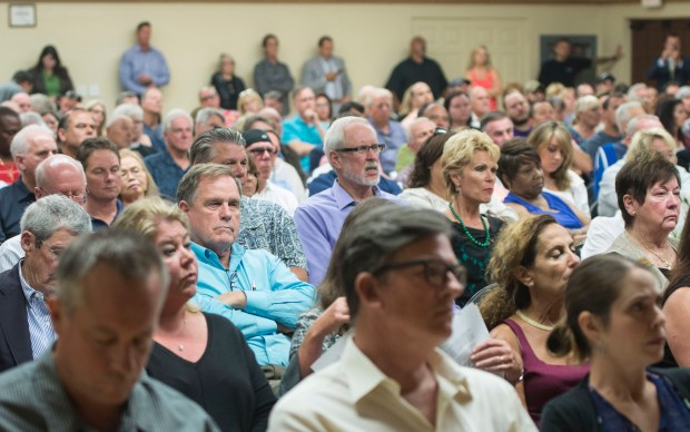 Chairs are packed, leaving standing room only during a discussion on sober-living homes at the San Clemente Community Center in San Clemente in 2016. (Photo by Matt Masin, Orange County Register, SCNG)