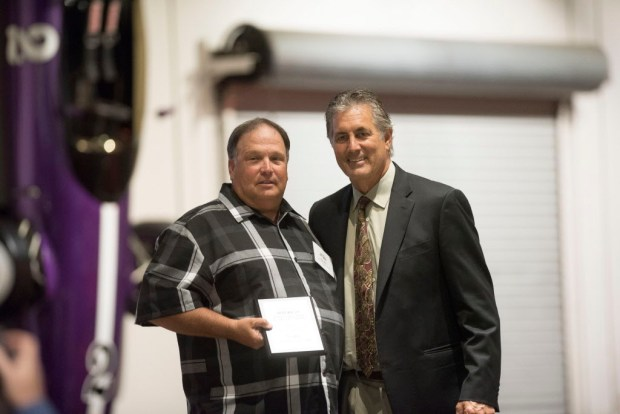 Rob Weil, Los Alamitos, accepts his award for Softball Coach of the Year at the Register's Athletes of the Year Banquet at Marconi Auto Museum in Tustin on Thursday, June 8, 2017. (Photo by Matt Masin, Orange County Register, SCNG)