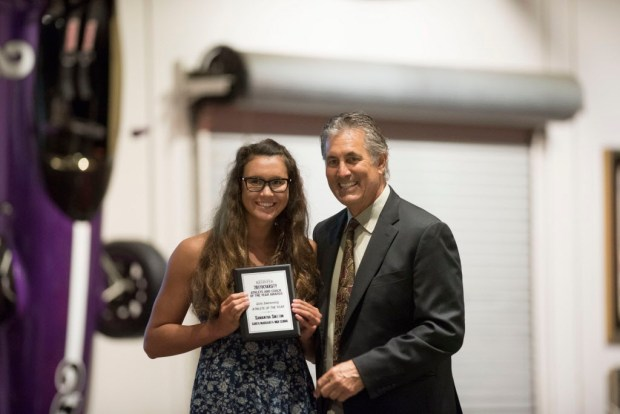 Samantha Shelton, Santa Margarita, accepts her award for Girls Swimming Athlete of the Year at the Register's Athletes of the Year Banquet at Marconi Auto Museum in Tustin on Thursday, June 8, 2017. (Photo by Matt Masin, Orange County Register, SCNG)
