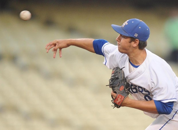 Jake Jackson was El Toro's starting pitcher. El Toro was playing Corona in the CIF-SS Division I baseball championship at Dodger Stadium in Los Angeles, CA on Friday, June 2, 2017. (Photo by Bill Alkofer,Orange County Register/SCNG)