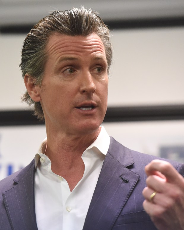 California Lieutenant Governor Gavin Newsom, visited the SEIU Local 721 office in Riverside on Friday to speak and answer questions for those in attendance, January 5, 2018. (John Valenzuela/Press-Enterprise/SCNG)