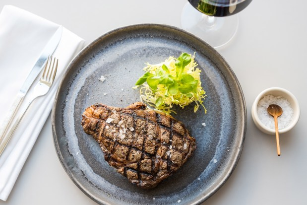 The Ribeye steak at Leatherby's Cafe Rouge in Costa Mesa. (Photo by Todd Porter)