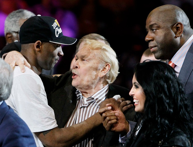 get cheap 6368f 895e6 Los Angeles Lakers  Kobe Bryant with Lakers Owner Jerry Buss, Magic Johnson  and Venessa Bryant celebrate after winning the NBA Finals at Staples Center  ...