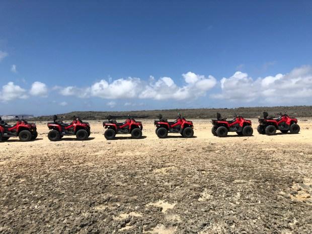 A line of ATVs