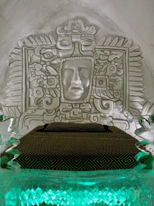 Ice bed with headboard carving