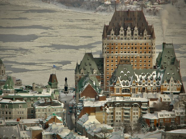 Quebec City buildings in winter