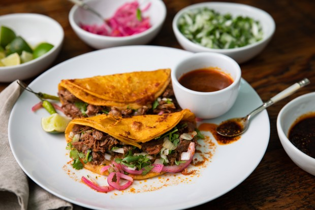 Beef birria tacos, available by the pound for takeout, from Birrieria el Bandido in Garden Grove (Photo by Brad A. Johnson, Orange County Register/SCNG)