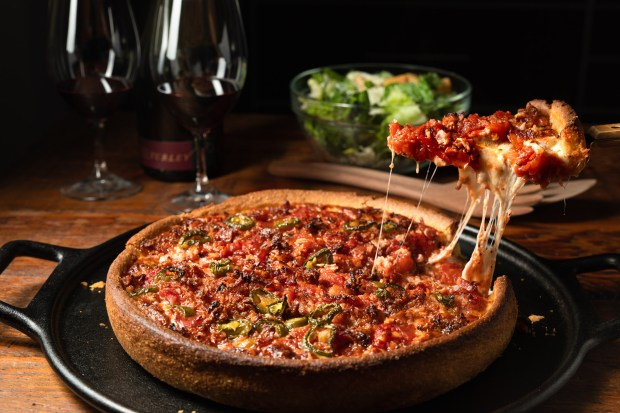 Take-and-bake Chicago-style pan pizza with jalapeńos, meatballs and bacon from the takeout menu at Rance's in Costa Mesa (Photo by Brad A. Johnson, Orange County Register/SCNG)
