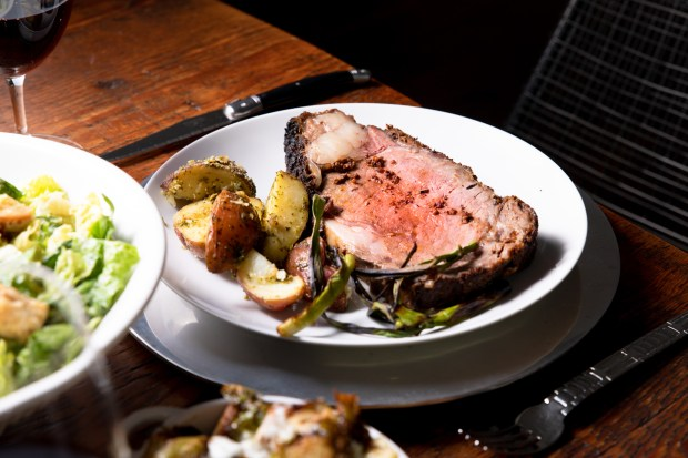 Prime rib with pan-dripping potatoes and caesar salad, served for two, from the takeout menu at Hendrix in Laguna Niguel (Photo by Brad A. Johnson, Orange County Register/SCNG)