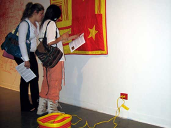 The foot spas with three red stripes and yellow, the colors of the South Vietnamese flag, conceptualized by artist Chau Huynh were part of an exhibit at UC Berkeley.