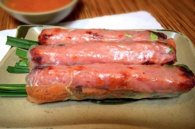 Nem nuong cuon is a type of spring roll made with grilled pork sausage and crispy wonton strips wrapped in rice paper and can be found at Brodard Restaurant. (Photo by Brad A. Johnson, Orange County Register)