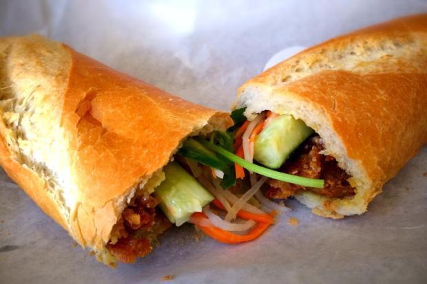 Grilled pork banh mi sandwich at Lynda Sandwich. (Photo by Brad A. Johnson, Orange County Register)