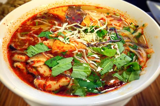 Hearty, full-flavored vegetarian bun bo Hue at Nanh Duc Hanh. (Photo by Brad A. Johnson, Orange County Register)