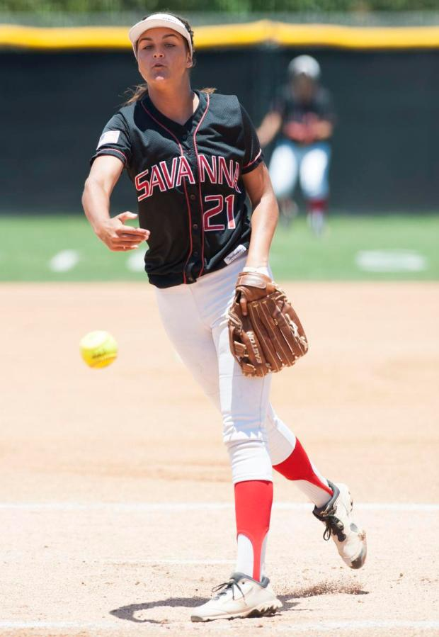 Savanna's Shyanne Fennell pitches during the Rebels' 8-4 loss to Paraclete High in the CIF-SS Division 6 softball championship game Saturday at Bill Barber Park in Irvine.