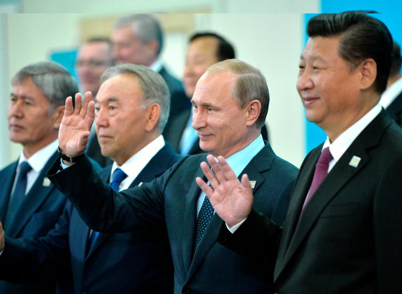 From left: Kyrgyzstan's President Almazbek Atambayev, President of Kazakhstan Nursultan Nazarbayev, President of Russia Vladimir Putin and President of China Xi Jinping pose for a photo ahead of the Shanghai Cooperation Organization summit in Ufa, Russia, Friday, July 10, 2015.