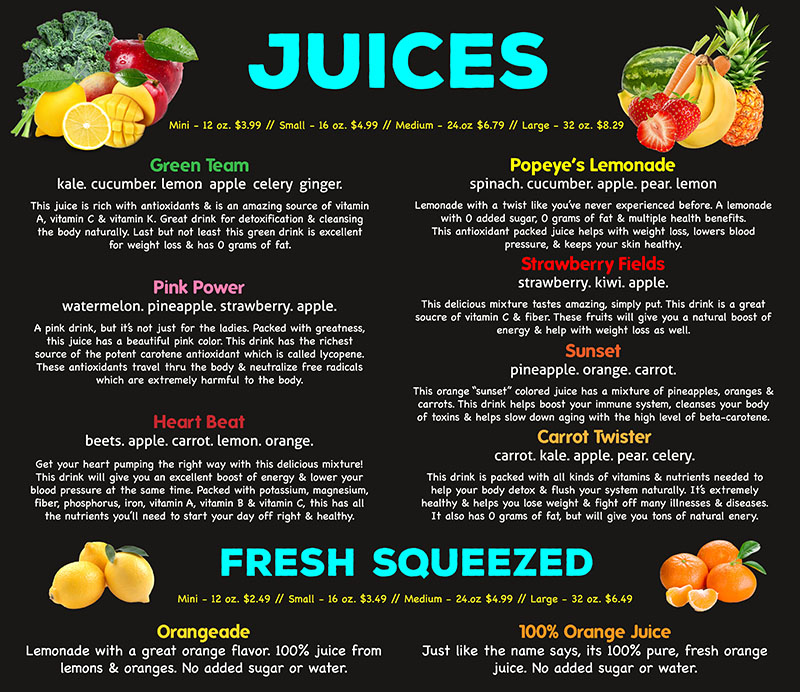 Fresh Juice Bar Menu