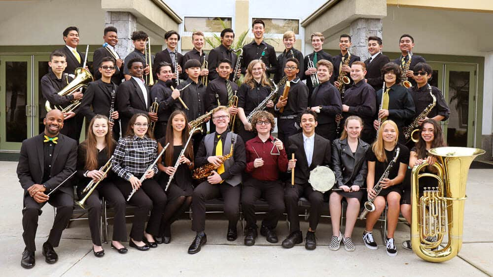 Concert Band students representing the Performing Arts program at Ontario Christian High School