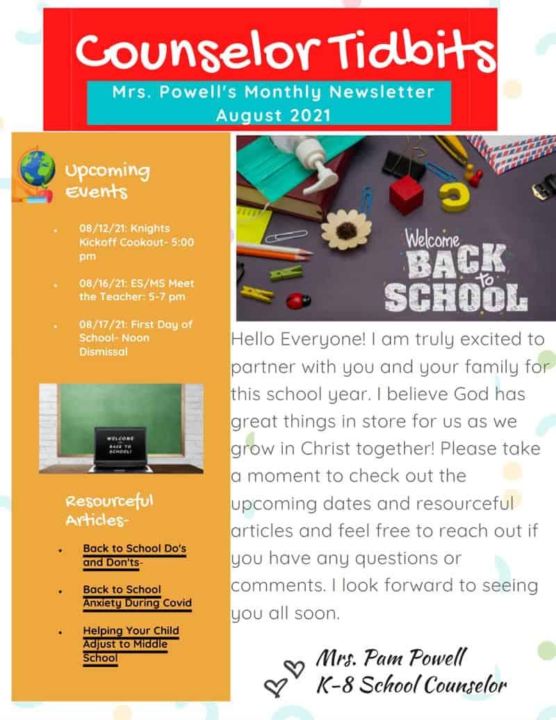 K-8 School Counselor Newsletter August 2021