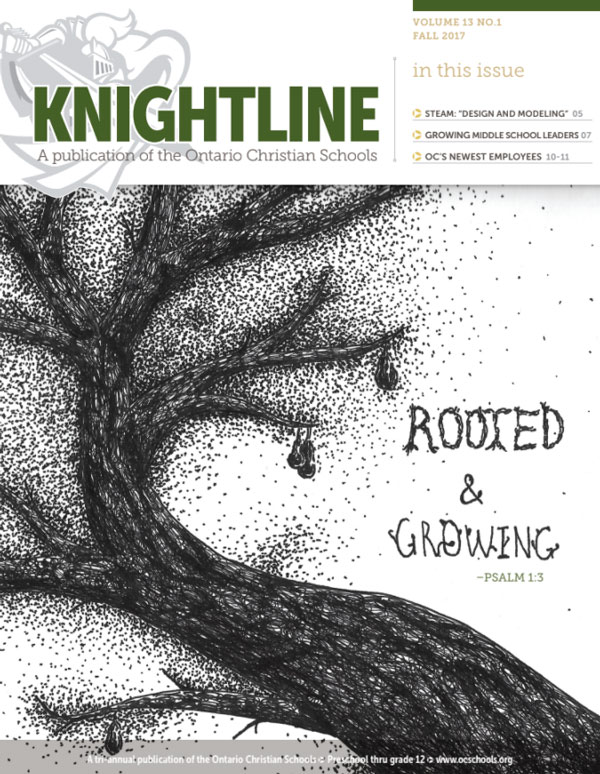 Knightline Magazine cover for fall 2017 featuring student artwork