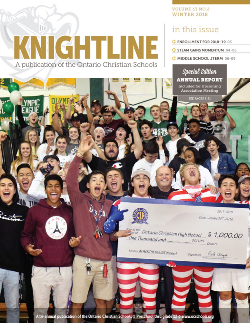 Knightline Magazine Winter 2018 cover image of high school students winning pack the house contest