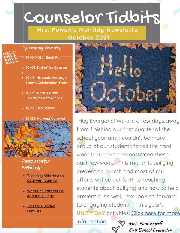 Ontario Christian's K-8 Counselor Newsletter Preview