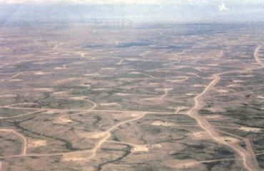 aerial view of Wyoming landscape with natural gas wells