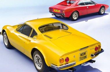 Ferrari Dino 246 GT und Dino 308 GT4 stehend