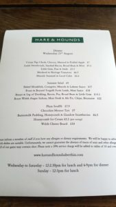 Hare and Hounds Menu
