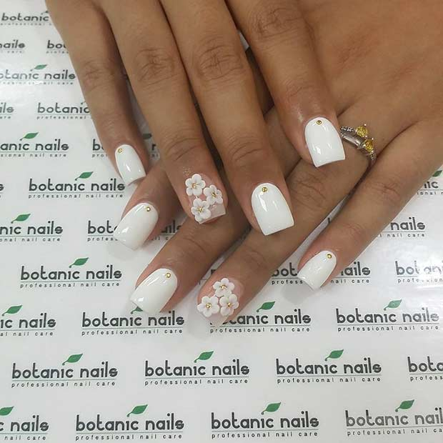 White Flower Nail Design 21 chic white acrylic nails to copy - {Od9ja  Styles} - 21 Chic White Acrylic Nails To Copy