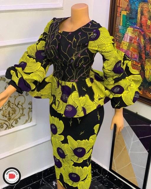 Peplum Skirt and Ankara Blouse Styles peplum skirt and ankara blouse styles - Peplum Skirt and Ankara Blouse Styles 20 512x640 - 45 Elegant and Stylish Ways To Rock Your Peplum Skirt and Ankara Blouse Styles
