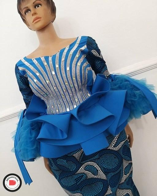 Peplum Skirt and Ankara Blouse Styles peplum skirt and ankara blouse styles - Peplum Skirt and Ankara Blouse Styles 26 512x640 - 45 Elegant and Stylish Ways To Rock Your Peplum Skirt and Ankara Blouse Styles