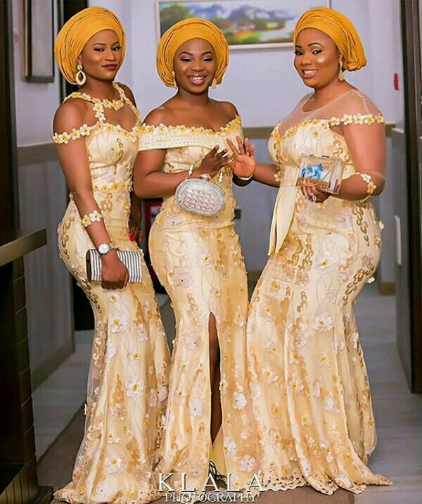 Gold Lace AsoEbi Dresses