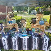 Oddbowlz Ceramics set up at Harrison Farmers Market