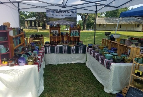 Oddbowlz booth at 2017 Clothesline Fair in Prairie Grove, Arkansas