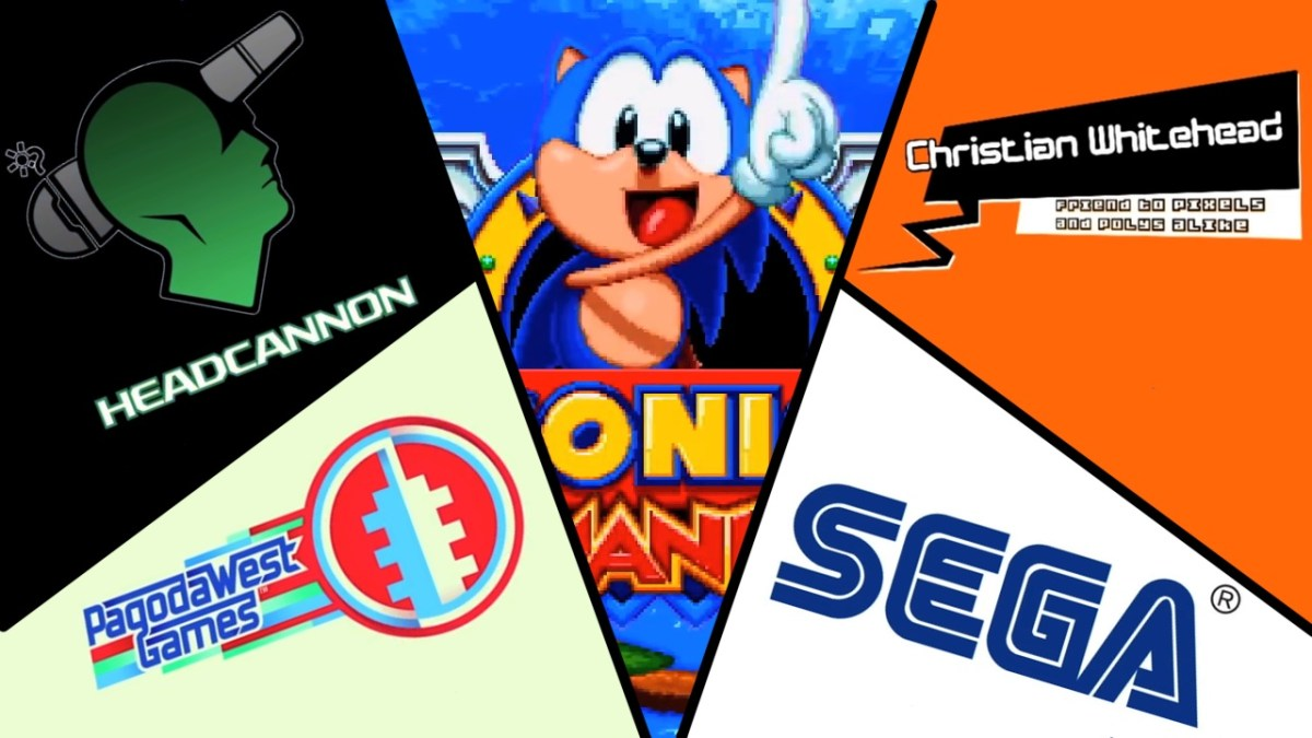 Logos for Sega, Christian Whitehead, Headcannon, and Pagoda West Games surrounding the Sonic Mania title screen