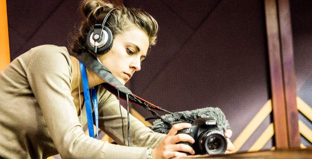 Aliki Saragas filming in parliament. Photo Credit: Jamie Dimitra Ashton.