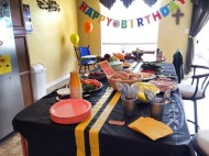 Construction Birhtday Party Ideas - Food Menu spread with road tablecloth