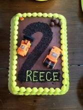 construction birthday party cake idea with trucks