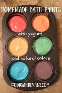 Homemade Bath Paint with Yogurt and Natural Colors - www.OddsandEvans.com