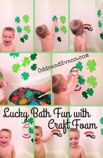 Lucky Bath with Craft Foam Shamrocks and Rainbows